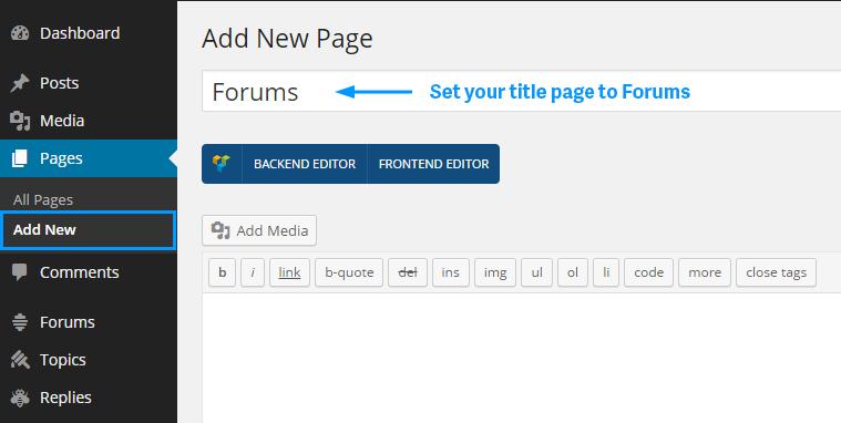 bbpress forums page