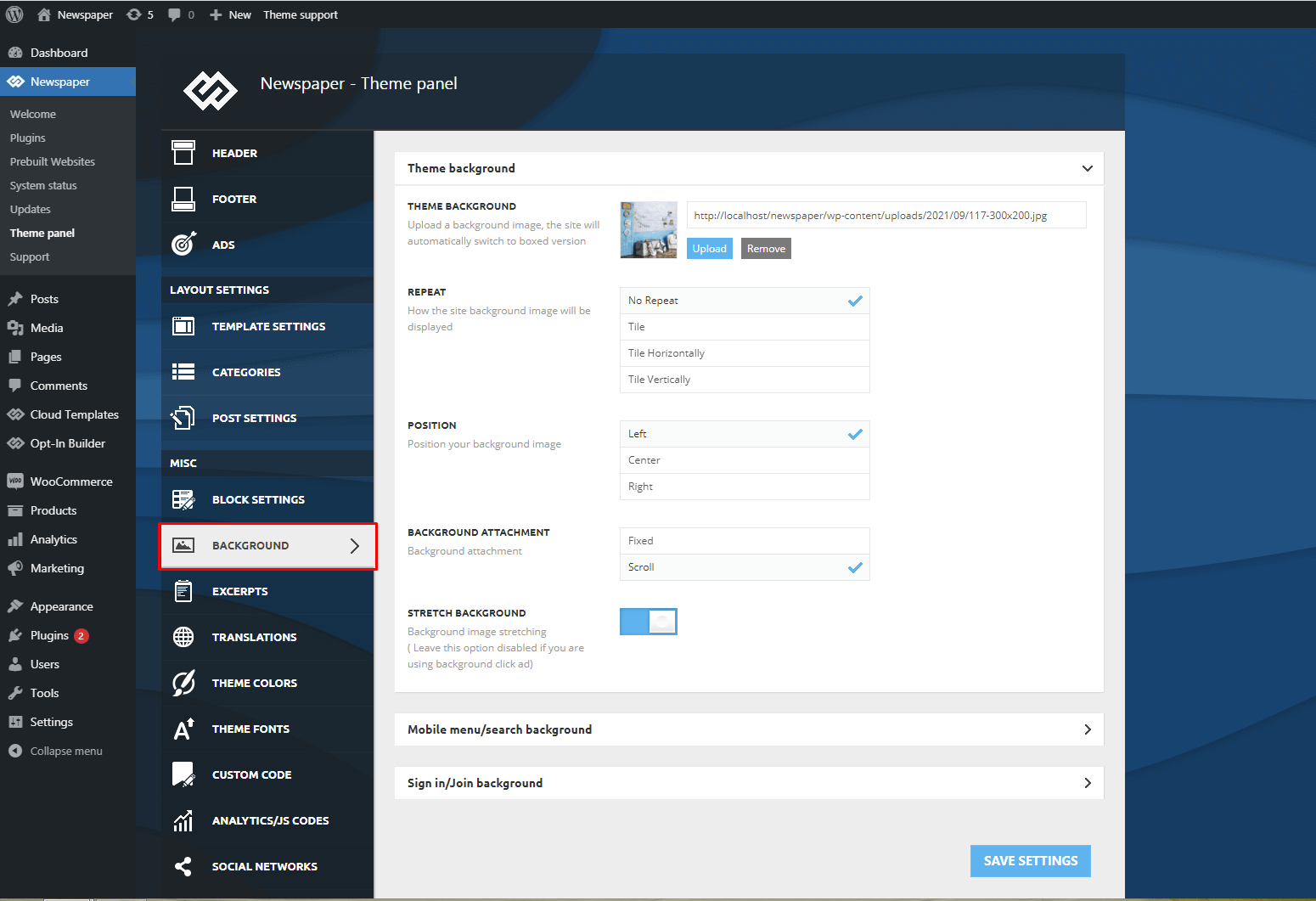 Background Introduction - Theme Settings