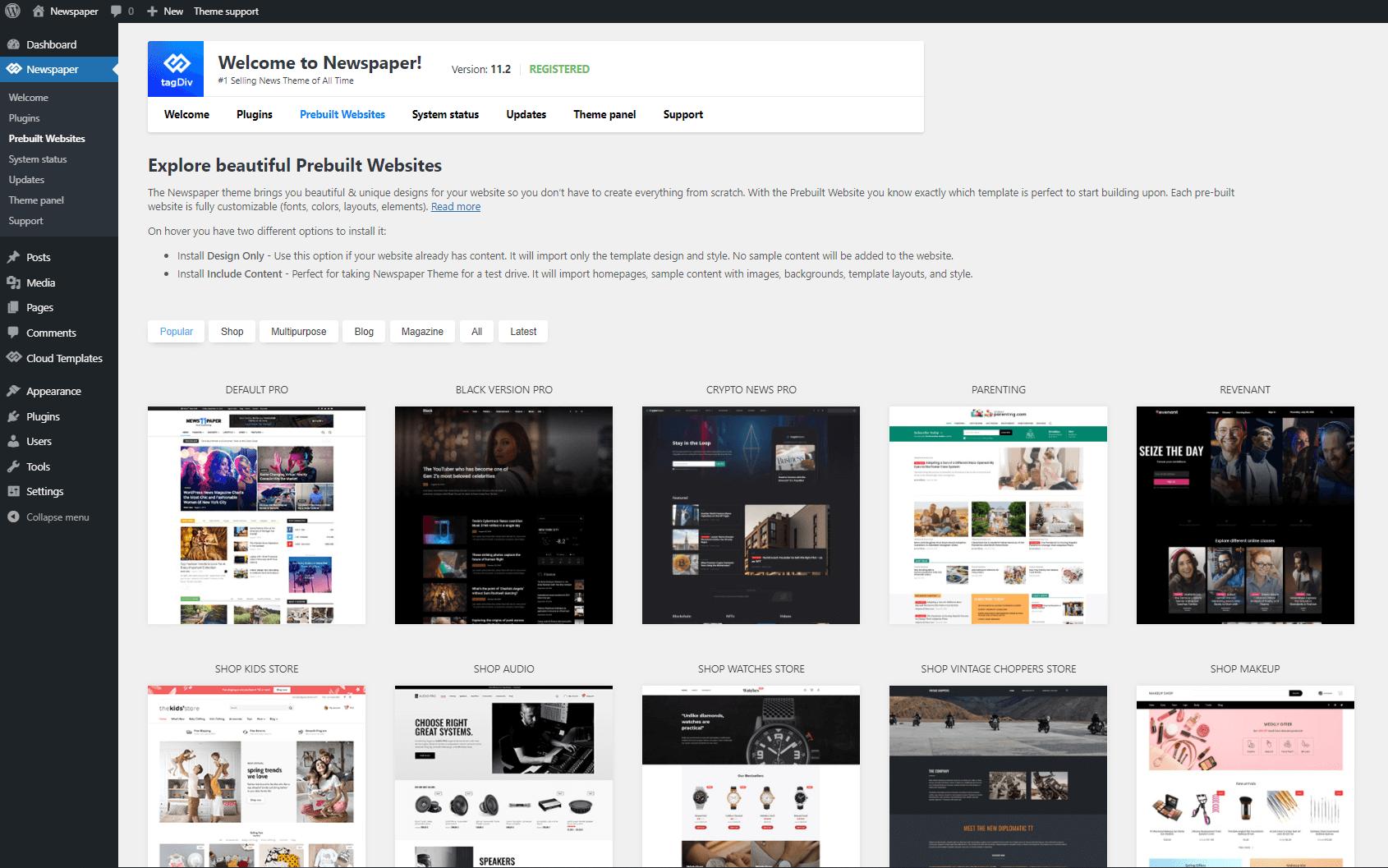 Pre-built Websites - Install Demo