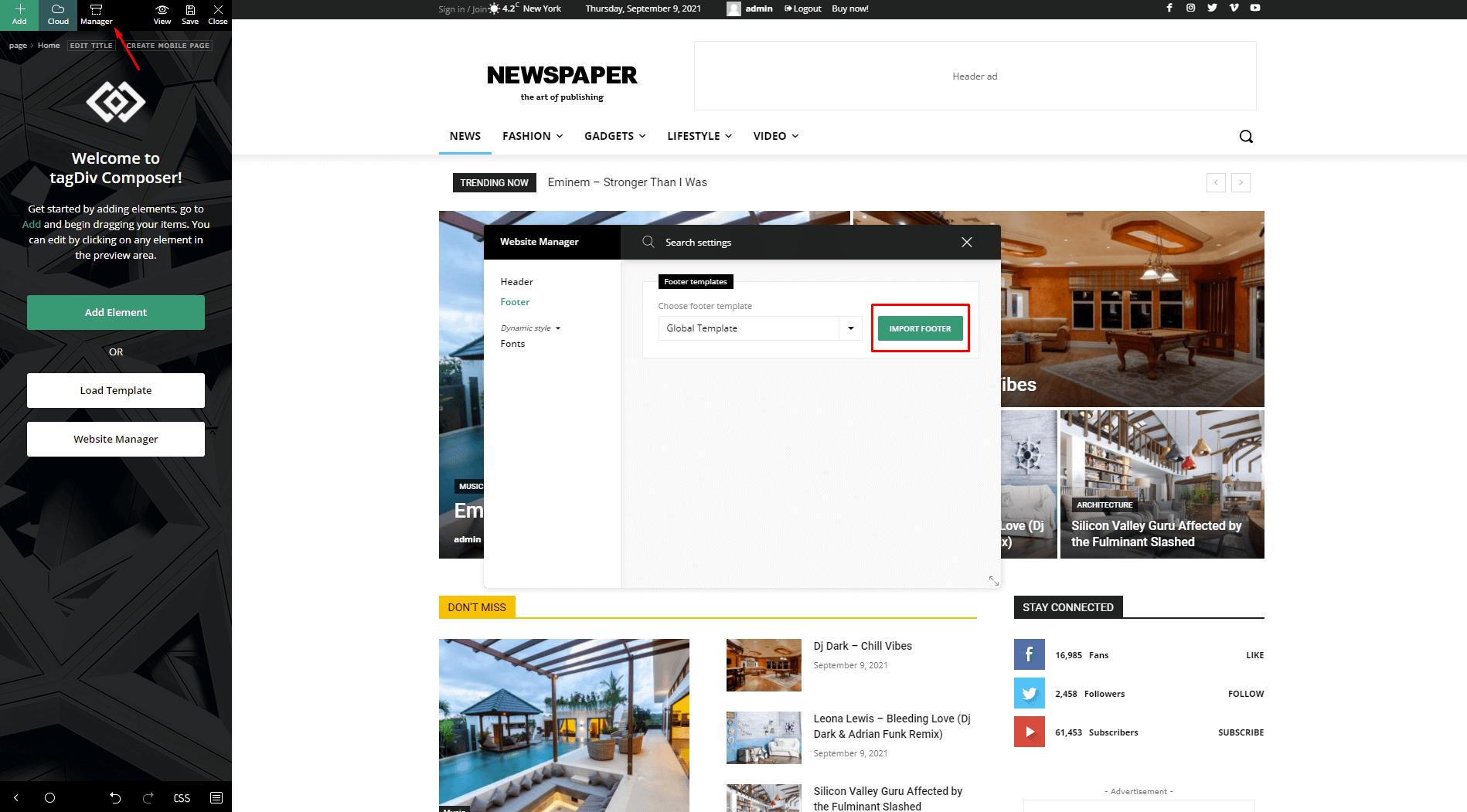 Website Manager - Footer Builder