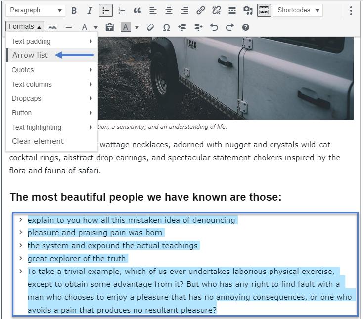 Arrow list - Post Formats