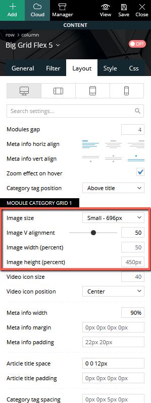Module category grid