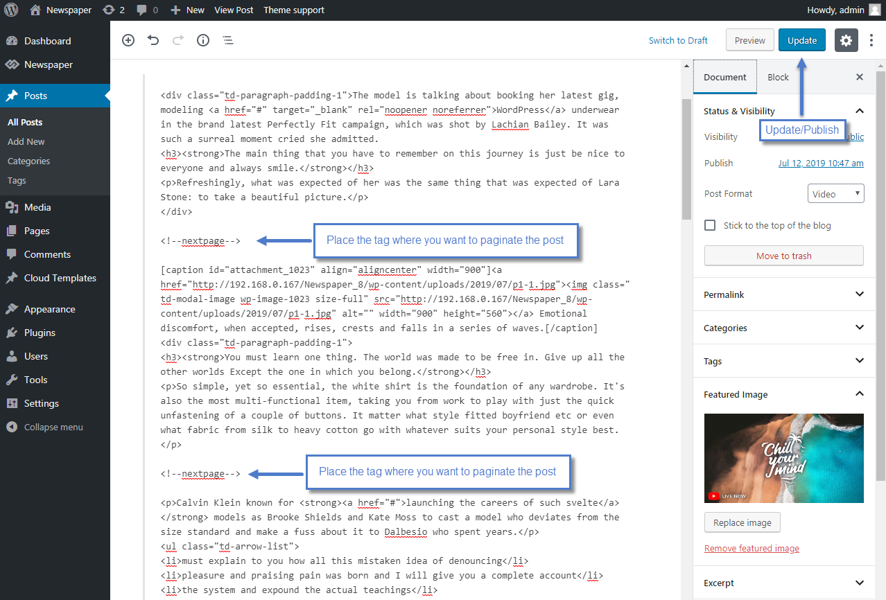 Next page code - posts with pagination