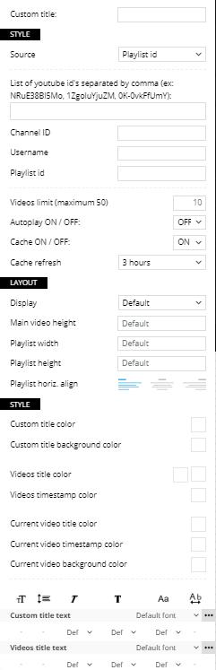 Video Playlist - customization settings