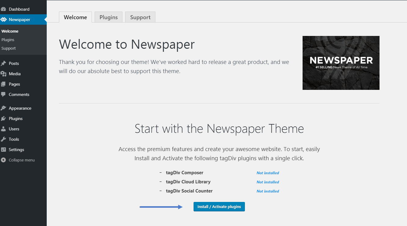 Newspaper Documentation - How to update the theme