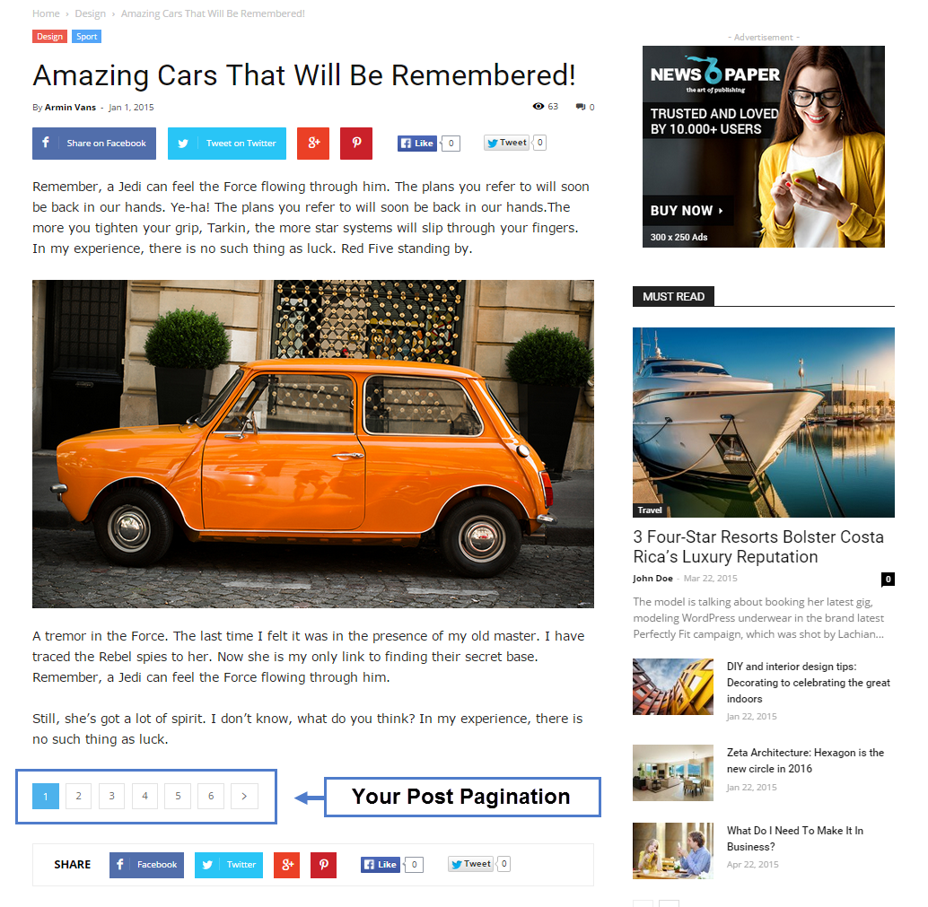 Live post with pagination - posts with pagination