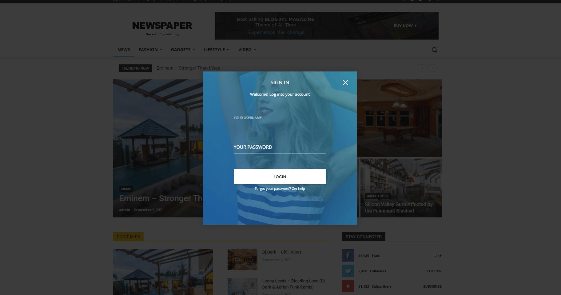 Newspaper Login Modal in User Registration