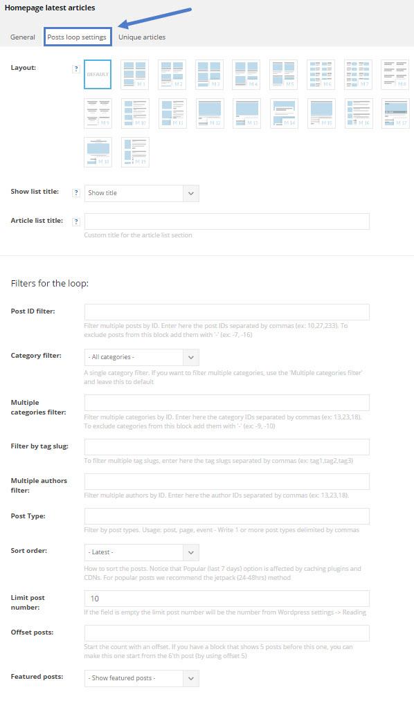 td_homepage_loop settings