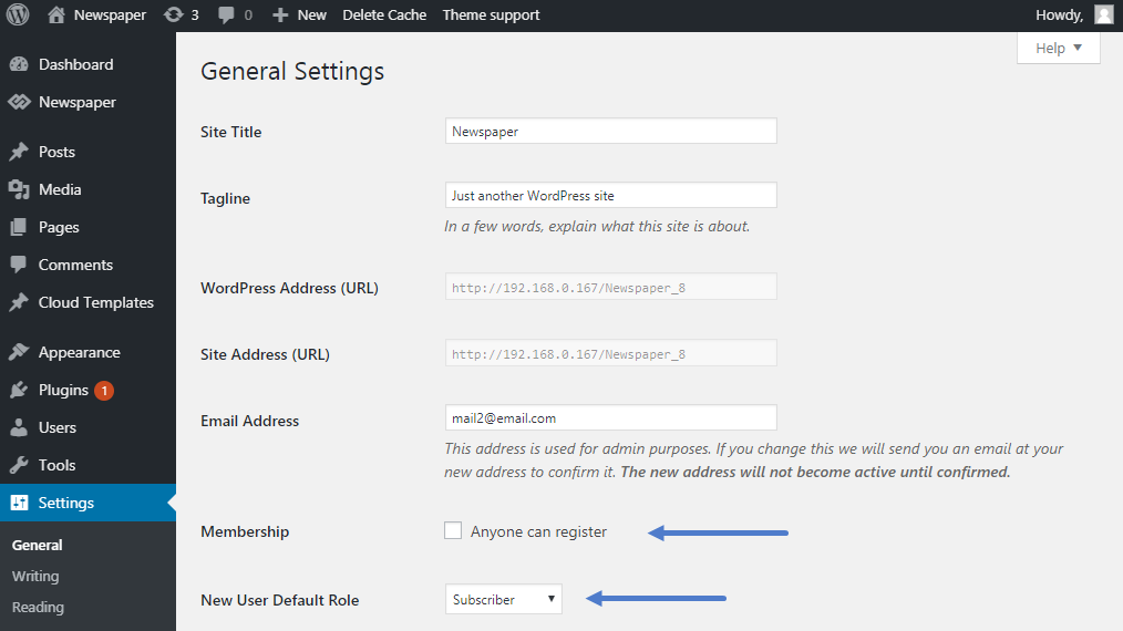 WordPress Settings: User Registration