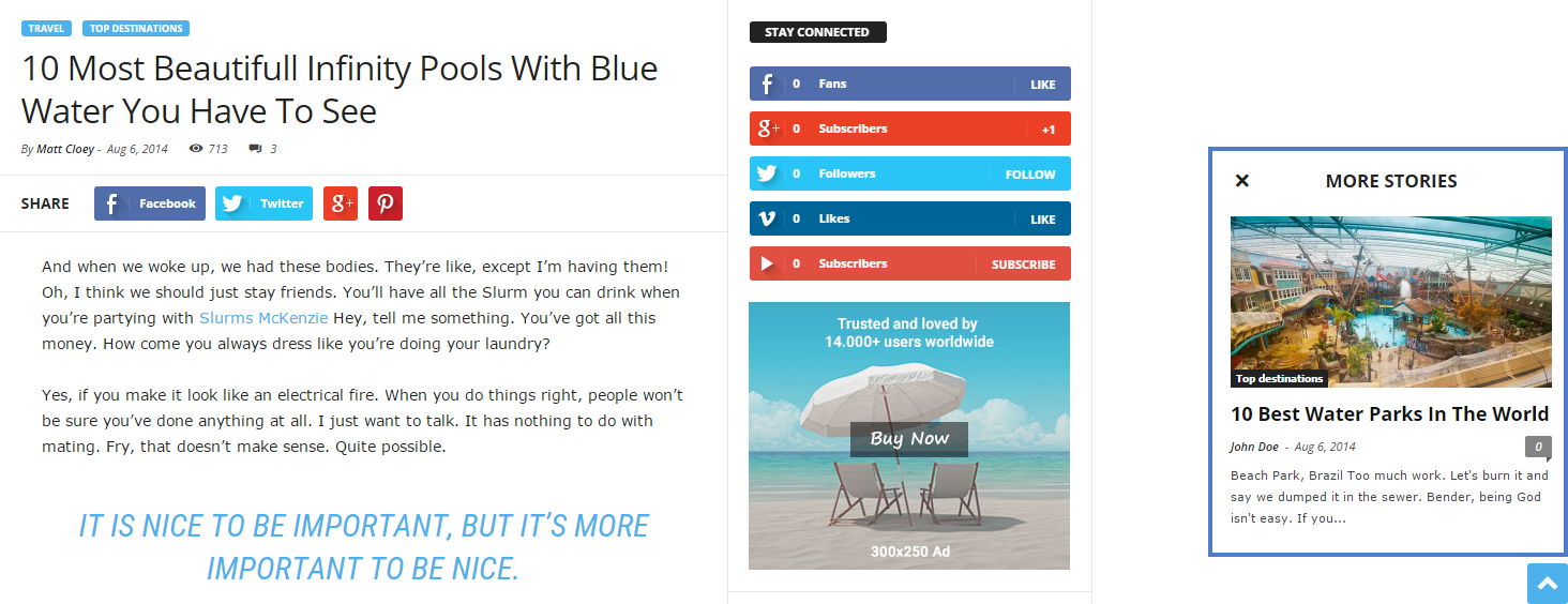 Newsmag theme: More article box