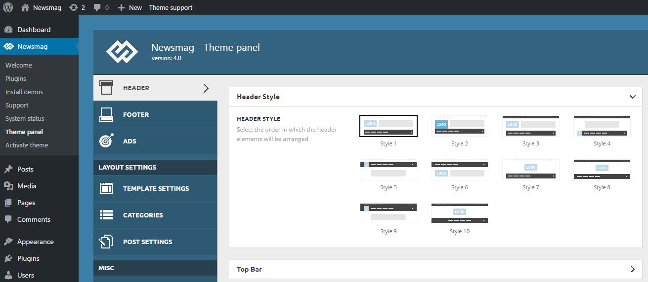 Newsmag theme Header styles