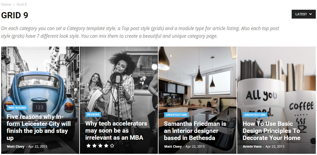 Newspaper theme - Category Top Post Styles - Grid-09