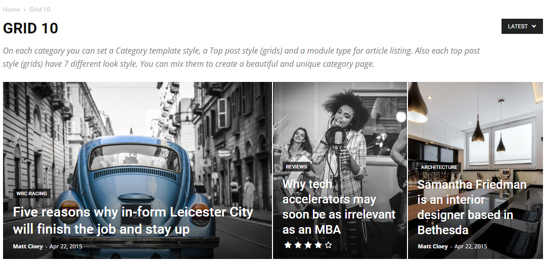 Newspaper theme - Category Top Post Styles - Grid-10