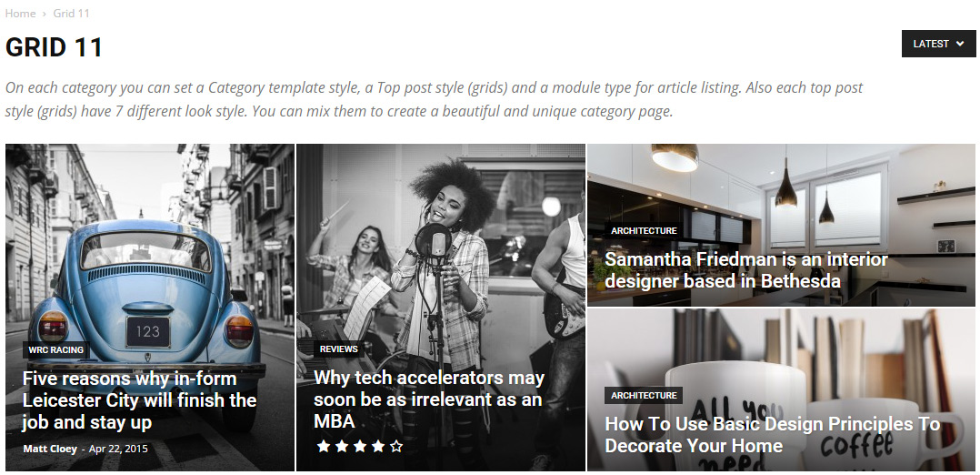 Newspaper theme - Category Top Post Styles - Grid-11