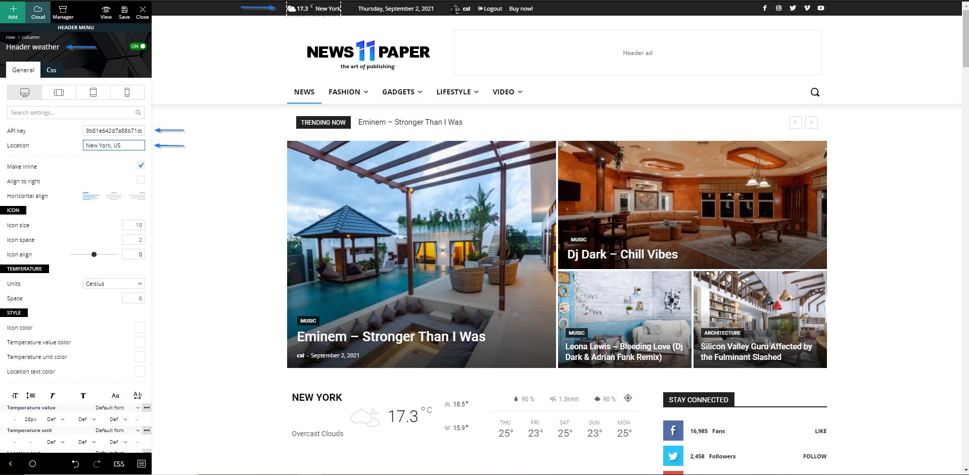 Header widget - Newspaper theme, weather element