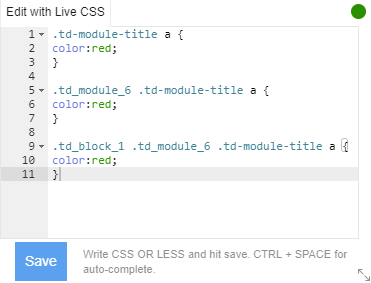 Edit with Live CSS - Cutom Code