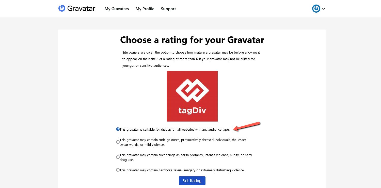 Upload the Gravatar logo