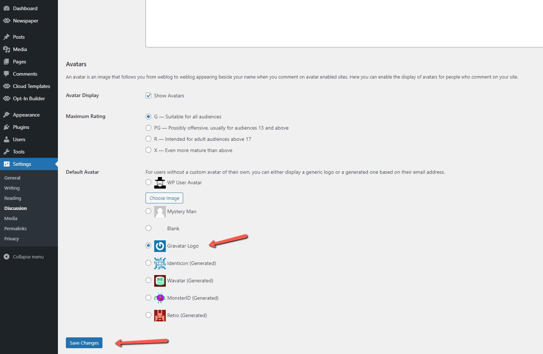 WordPress settings - save avatar