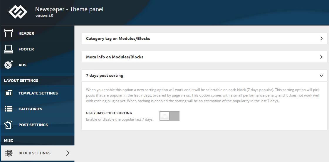7 days post sorting - block settings