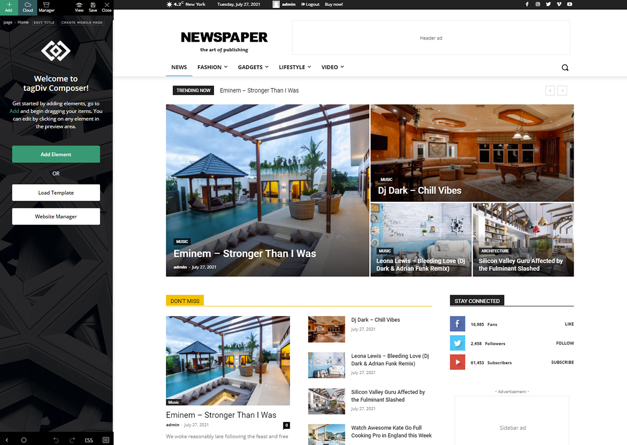Newspaper Theme and tagDiv Composer builder