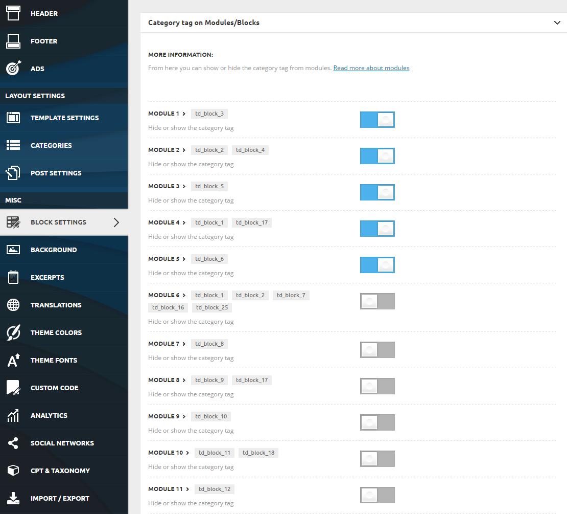Category tag - Block Settings