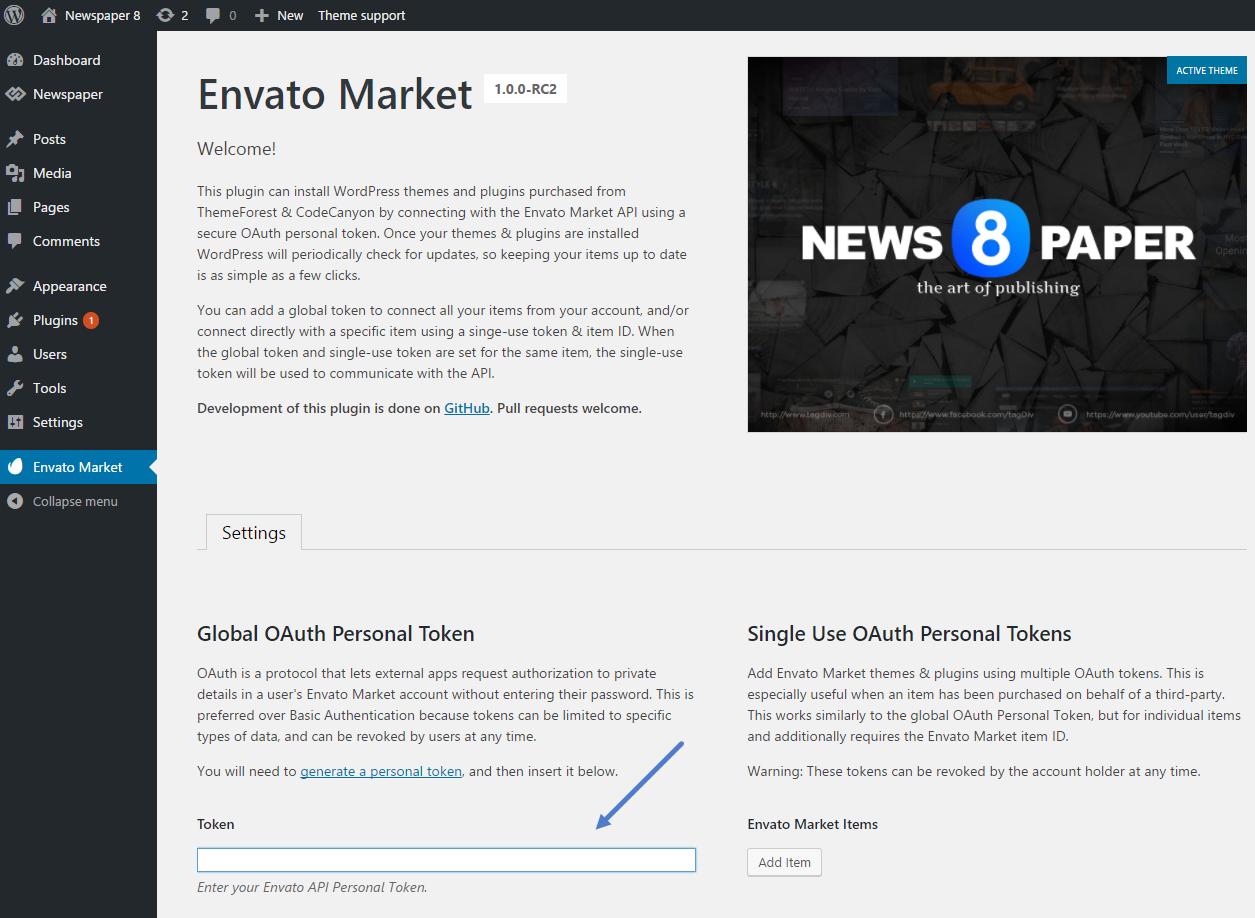 Update - Envato Token