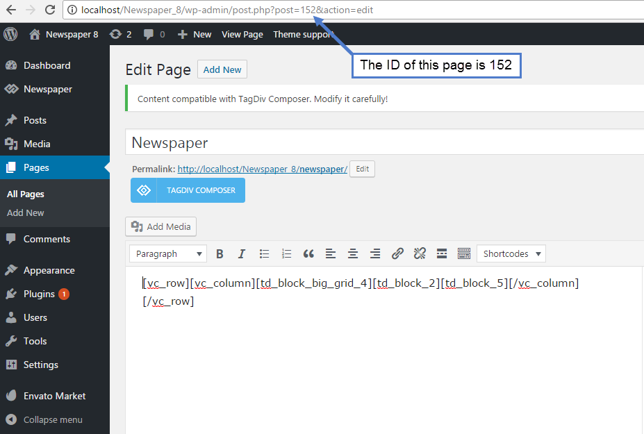 Newspaper Theme: How to add a page in menu - Page ID 1
