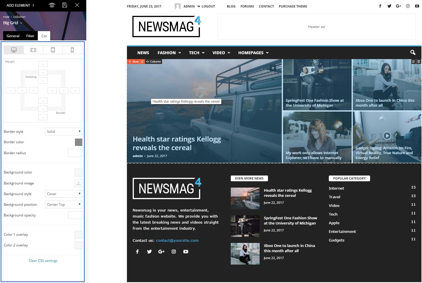 newsmag theme block settings tutorial