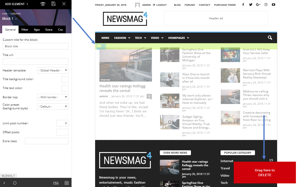 Newsmag theme: How to edit a page with tagDiv Composer page builder