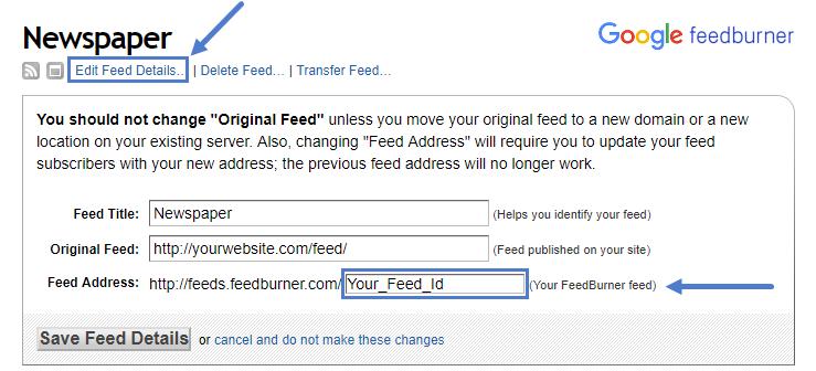 Feedburner ID: tagDiv Newsletter