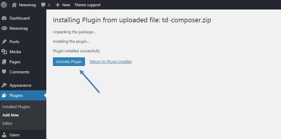 Newsmag Theme: How to update a plugin - Activate the plugin