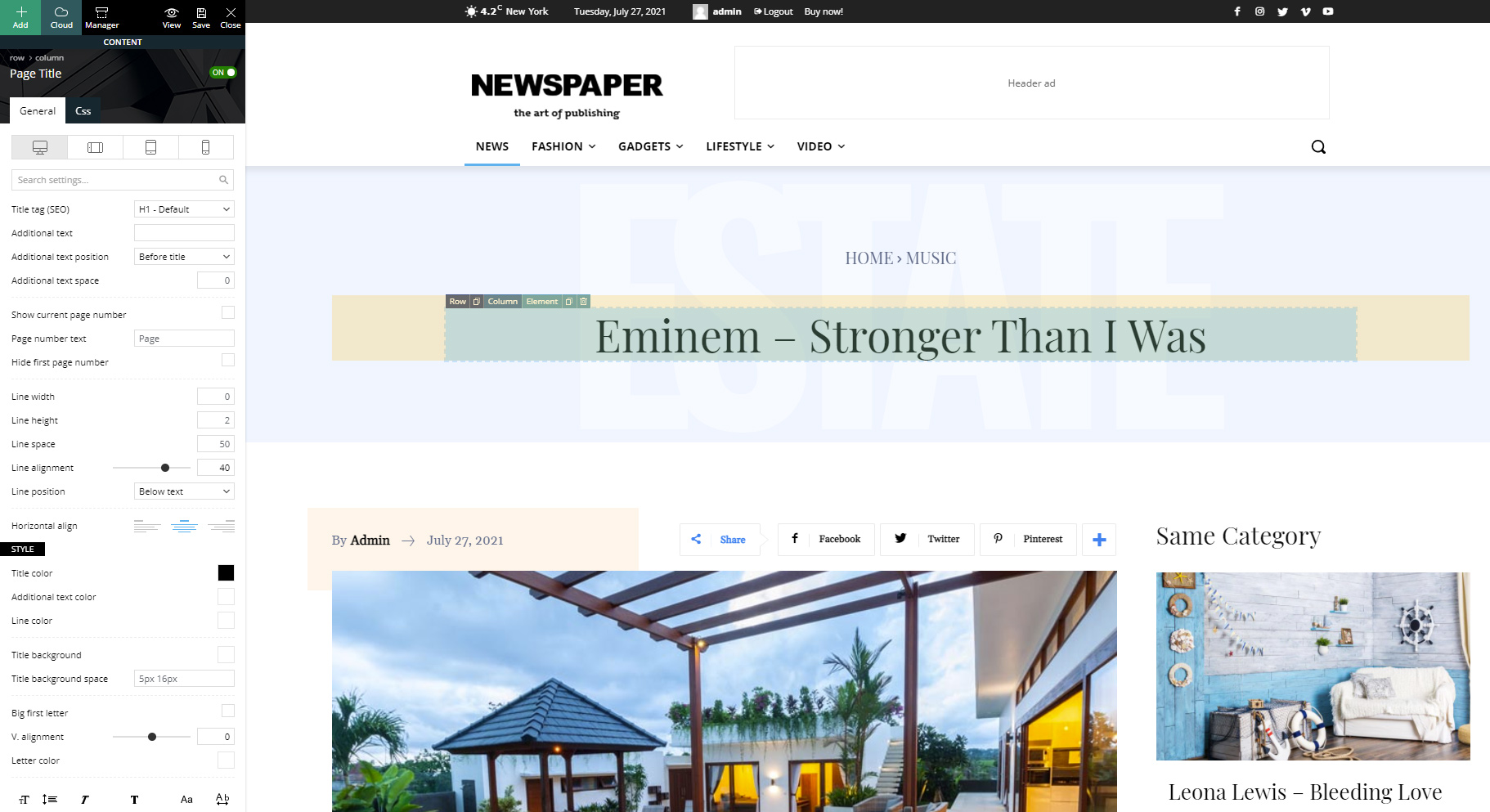 Edit New Single Post Template with tagDiv Composer