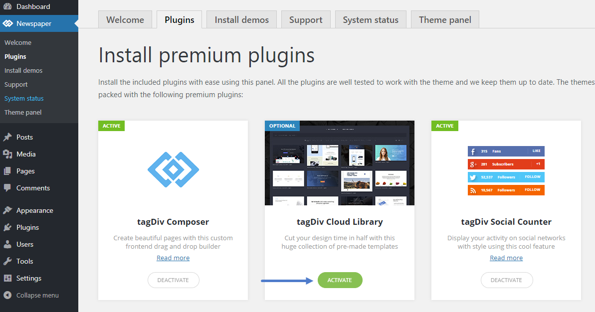 tagDiv Cloud Library: How to install the plugin