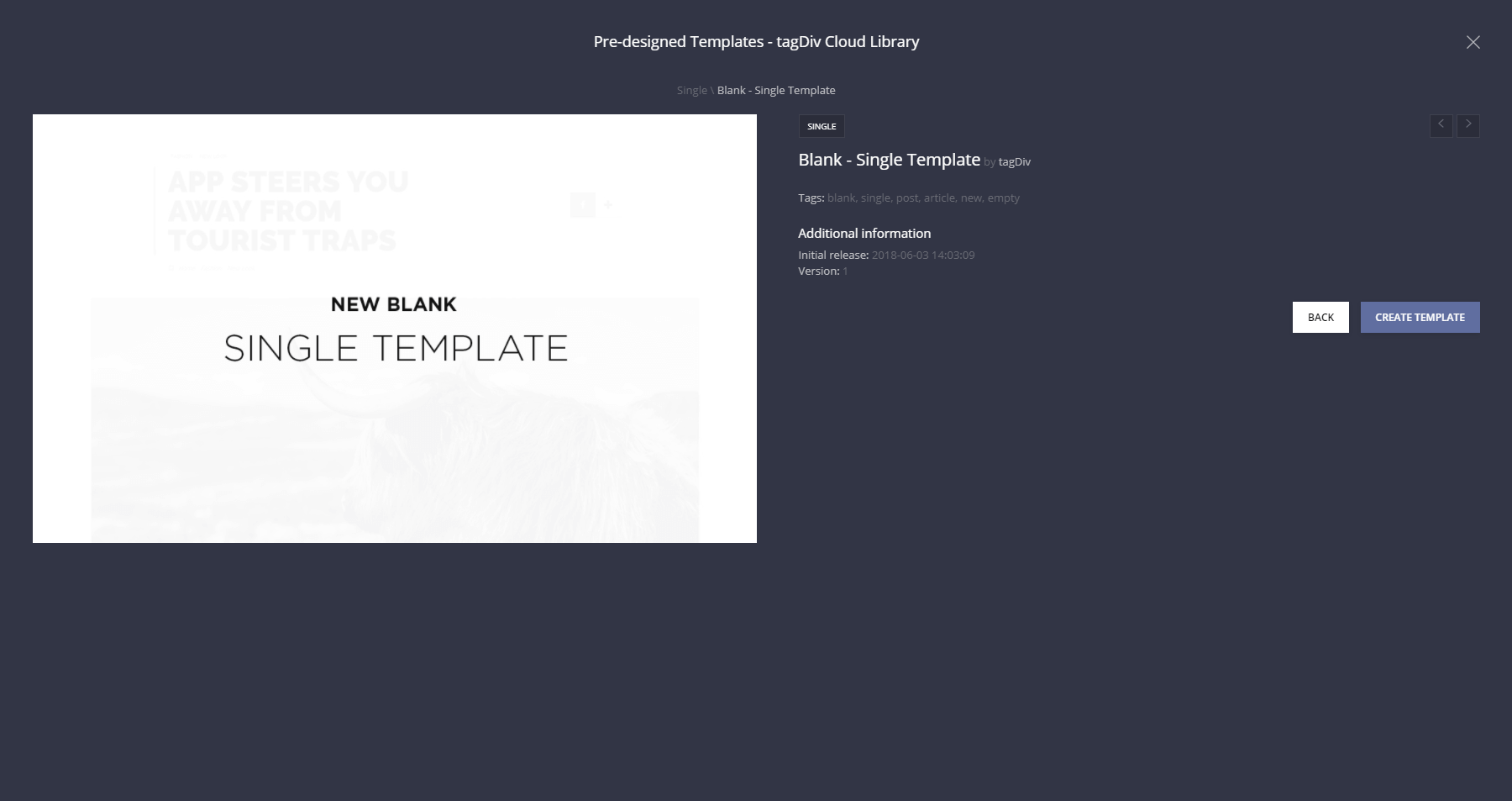 Blank Single Post template - post pages design