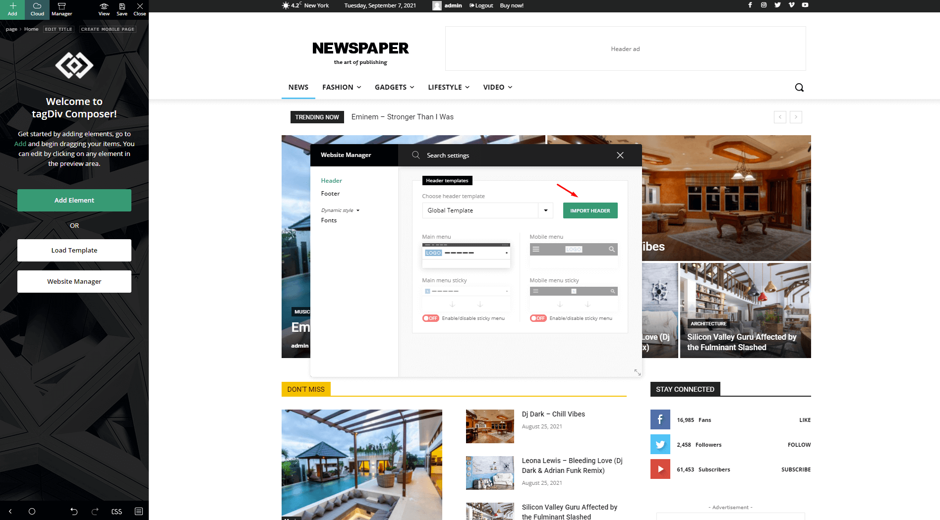 Import New Header Template with the Header Builder