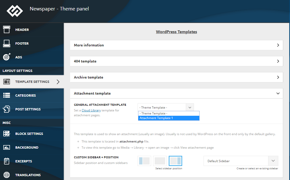 Cloud Library Templates - tagDiv support