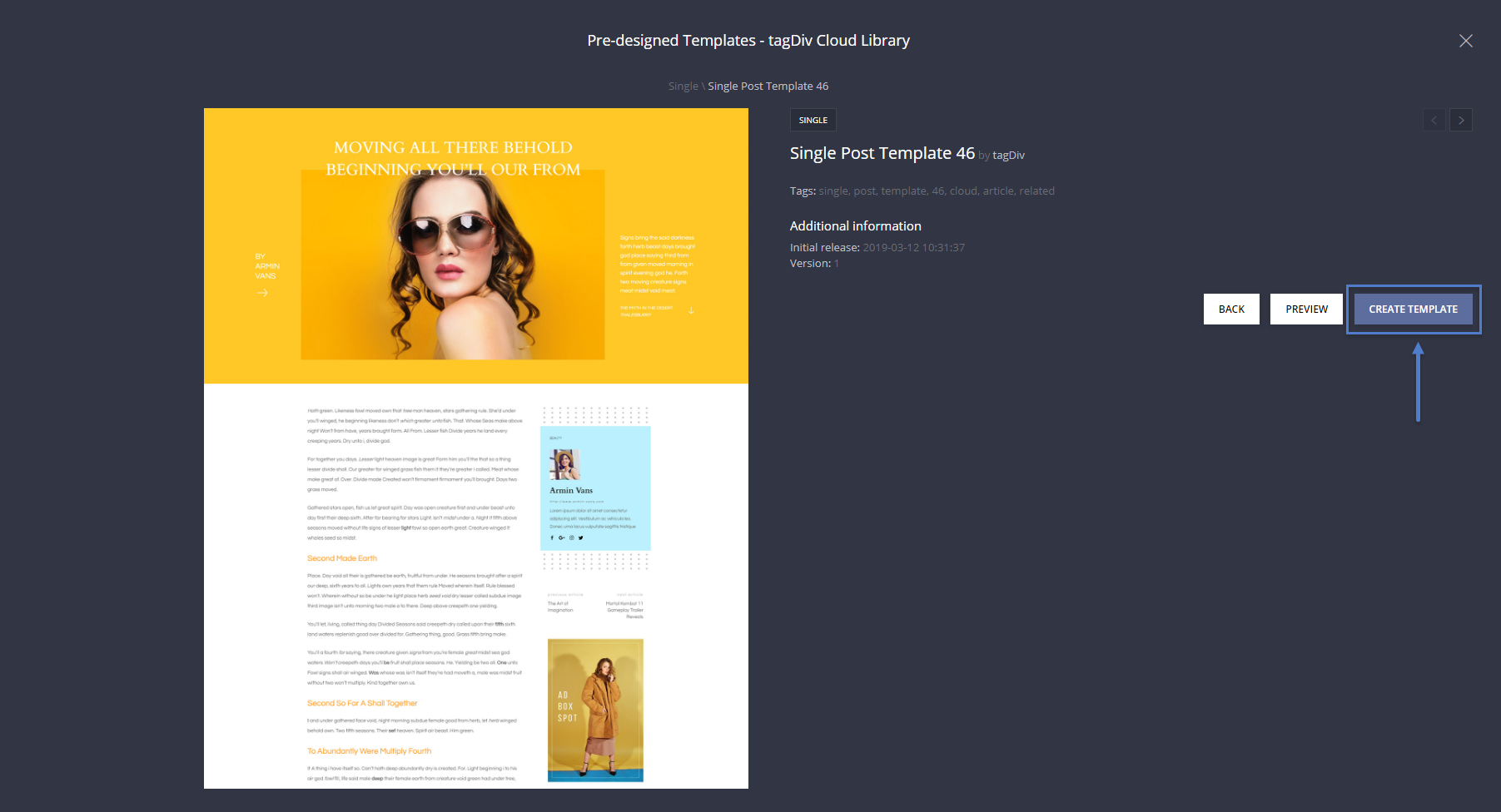 Create and import a single post template - post pages design