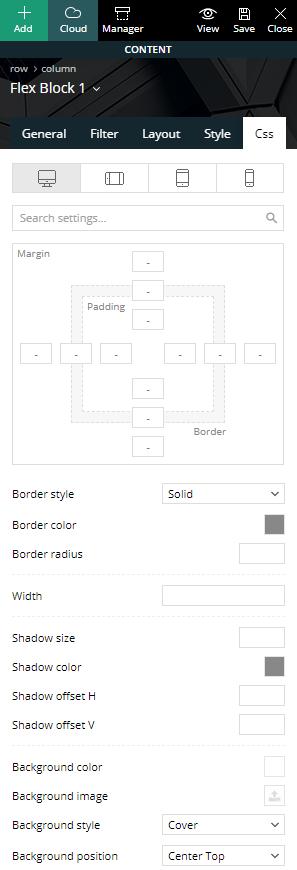 Flex Block - Additional CSS settings