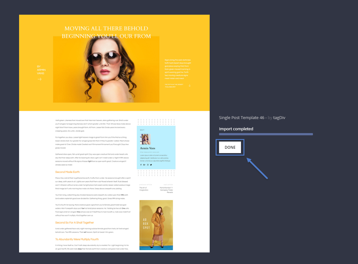 Finish importing your single post template - post pages design