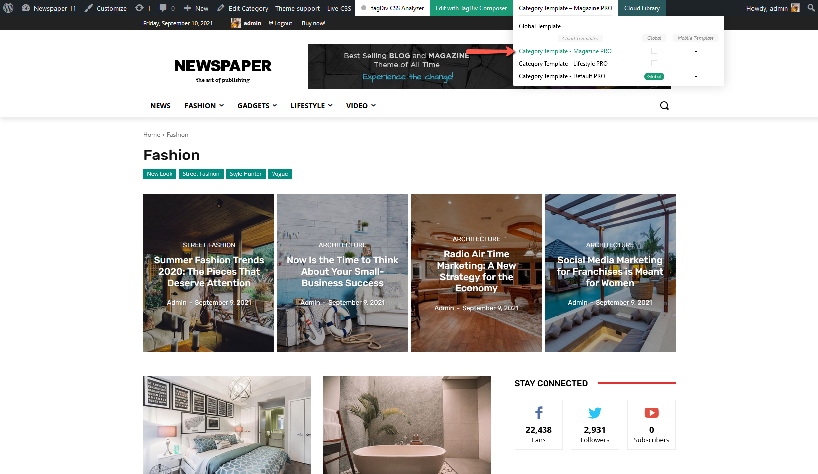 Newspaper Theme: Category template - select