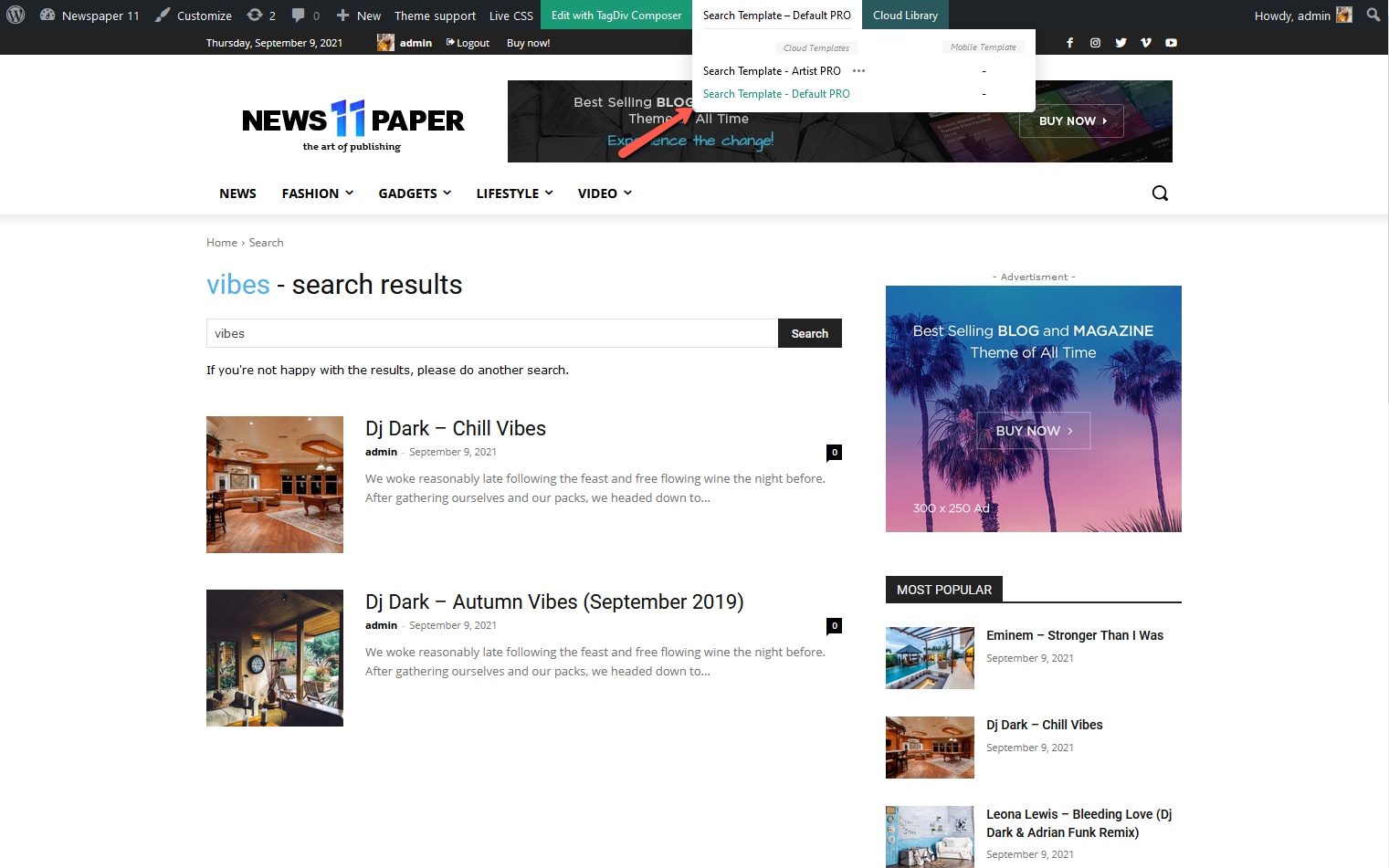 How to set the Search Template