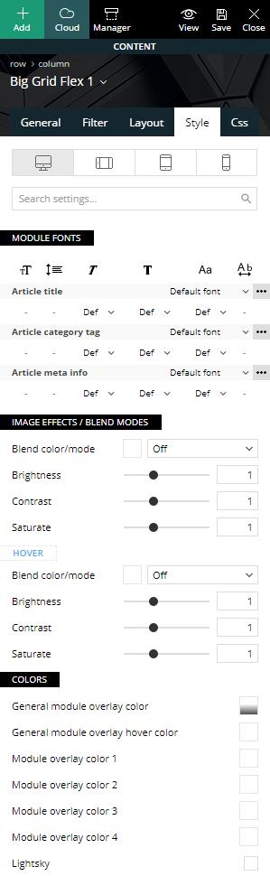 Big Grid Flex - Style settings
